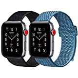 ATUP Compatible with Watch Band 38mm 40mm 42mm 44mm Soft Breathable Wristbands for iWatch Series 4 3 2 1 Cape Code Blue   Black with Purple 38mm 40mm