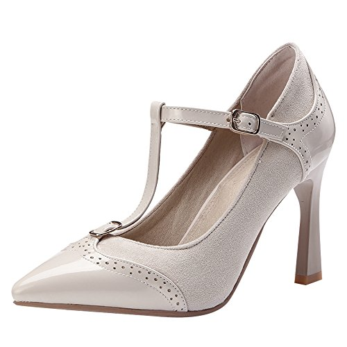 Latasa Dames T-strap Puntig Mary Janes Pumps Beige