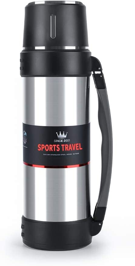 Stainless Steel Vacuum Flask with Cup – 61oz Double-Wall Vacuum Insulated Water Bottle for Travel – Camping Coffee Pot with Handle – Keeps Liquid Hot or Cold,Leak Resistant…