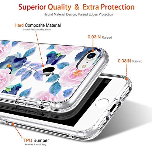 GiiKa iPhone 8 Case, iPhone 7 Case with Screen Protector, Clear Heavy Duty Protective Case Floral Girls Women Hard PC…