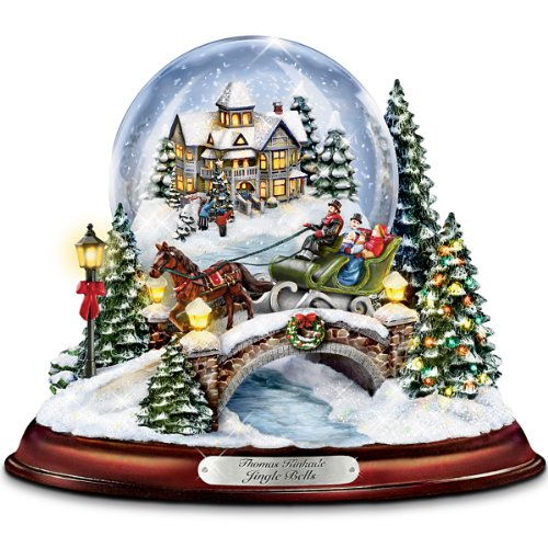 Bradford Exchange Thomas Kinkade Jingle Bells Illuminated Musical Christmas Snowglobe by The