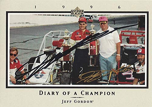 AUTOGRAPHED Jeff Gordon 1996 Upper Deck Racing DIARY OF A CHAMPION (First Midget Race Title) Hendrick Motorsports Vintage Signed Collectible NASCAR Trading Card with COA and Toploader