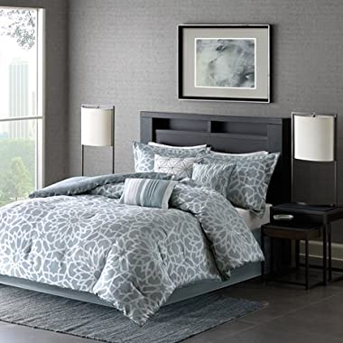 Madison Park Carlow 7 Piece Comforter Set Blue Queen