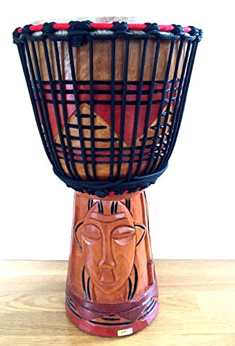 Djembe Drum African Percussion Hand Carved Bongo Congo Wood Drum, COLLECTORS PROFESSIONAL QUALITY XL SIZE - JIVE FEDERAL (TM) BRAND (Djembe Large Drum)