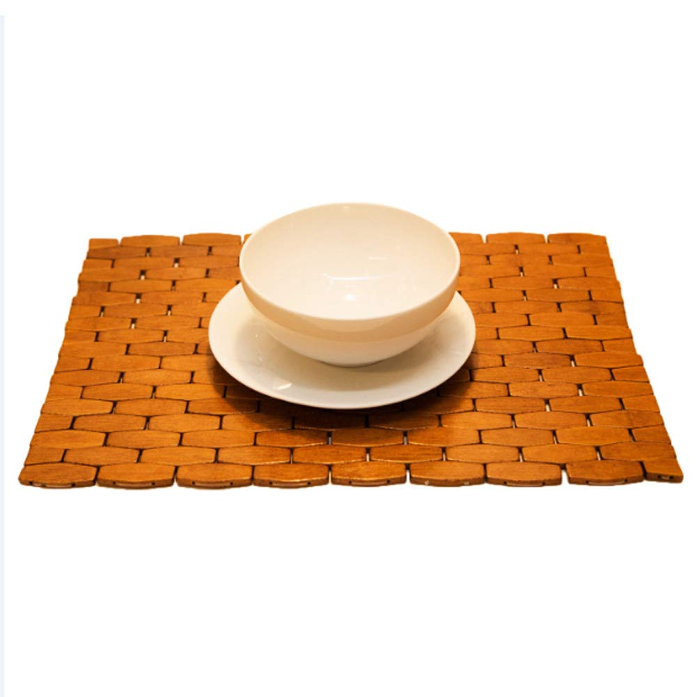 HANKEY Bamboo Place Mats, Dining Mat, Decoration for Table, Heat Insulation Hexagon Natural Color Set of 4 Eco-Friendly