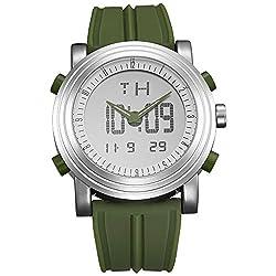 SINOBI Digital Mens Sport Watch Analog Quartz Electronic Wrist Watch with Alarm Stopwatch LED Backlight and Green Rubber Strap