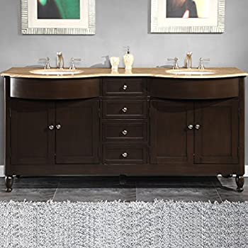 Silkroad Exclusive HYP 0717 T UWC 72 Travertine Stone Top Double Sink