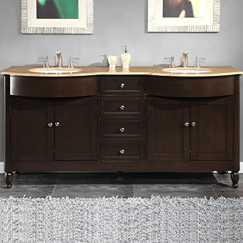 - Silkroad Exclusive Hyp-0717-T-Uwc-72 Travertine Stone Top Double Sink Bathroom Vanity with Furniture Bath Cabinet, 72