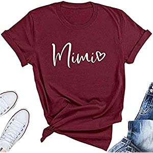 BANGELY Mimi Heart Graphic Cute Grandma T Shirt for Women Letter Print Short Sleeve Tees Casual Mimi Gift Tops with…