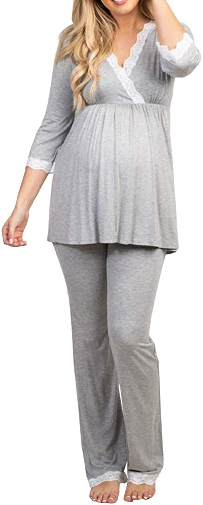 Womens Cotton Maternity Pregnancy Soft Nursing Pajama Sets Sleepwear Long Sleeves For Delivery Breastfeeding In Hospital At Amazon Women S Clothing Store