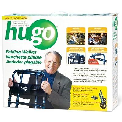 Hugo Mobility 770-260 Adjustable Folding Walker with Bonus Wheels and Plastic Glides, Sapphire Blue, 5 Inch