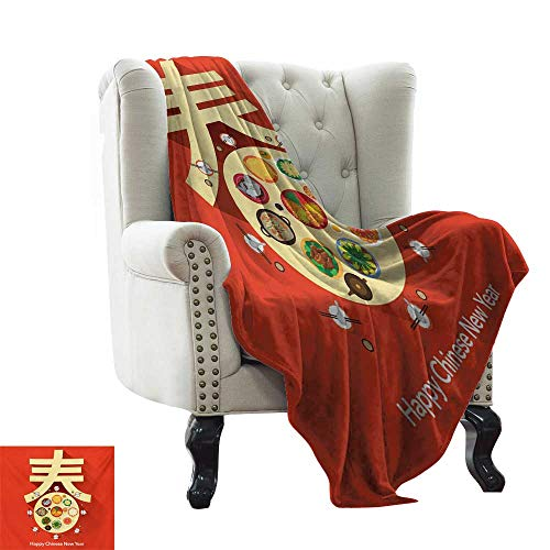 BelleAckerman Throw Blanket Chinese New Year,Traditional Family Reunion Dinner Table with Food for The Lunar Festival,Multicolor Colorful | Home, Couch, Outdoor, Travel Use 60