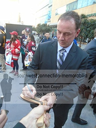 Dallas Stars Joe Nieuwendyk Autographed Hand Signed Stars Logo Hockey Stick Blade with Proof Photo of Signing and COA