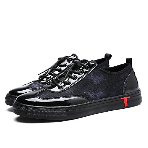 Men's Sneaker Flat Heel Lace up PU Vamp Solid Color Casual Shoes Cricket Shoes Black
