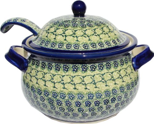 Polish Pottery Soup Tureen with Ladle Zaklady Ceramiczne Boleslawiec - Polish Pottery Soup Tureen