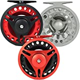 Aventik CNC-machined Aluminum Trout Carbon Disc 3/5, 5/7,7/9wt Fly Fishing Reel Large Arbor (black frame+red spool, 7/9) For Sale