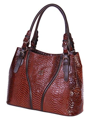 Finest Qualité des femmes en cuir véritable sac à main NEE Brun Croc Imprimer designer Fashion