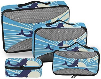 トラベル ポーチ 旅行用 収納ケース 4点セット トラベルポーチセット アレンジケース スーツケース整理 ブルー イルカ 収納ポーチ 大容量 軽量 衣類 トイレタリーバッグ インナーバッグ