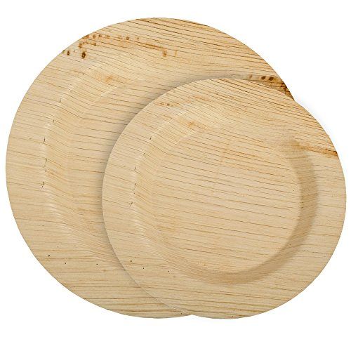 CaterEco Deluxe Round Palm Leaf Plates Set (50 Pack) | (25) Dinner Plates & (25) Salad Plates | Ecofriendly Disposable Dinnerware | Heavy Duty Biodegradable Party Utensils for Wedding, Camping & More