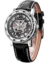 KS Men's Roman Skeleton Dial Mechanical Luminous Analog Leather Band Wrist Watch KS082