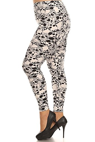 Expert Design Women's Plus White Skull Pattern Print Leggings - Catacombs of Paris Halloween