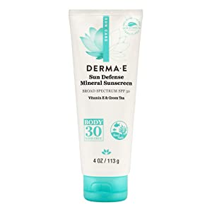 DERMA E Natural Sun Defense Mineral Sunscreen SPF 30, Oil-Free 4 oz