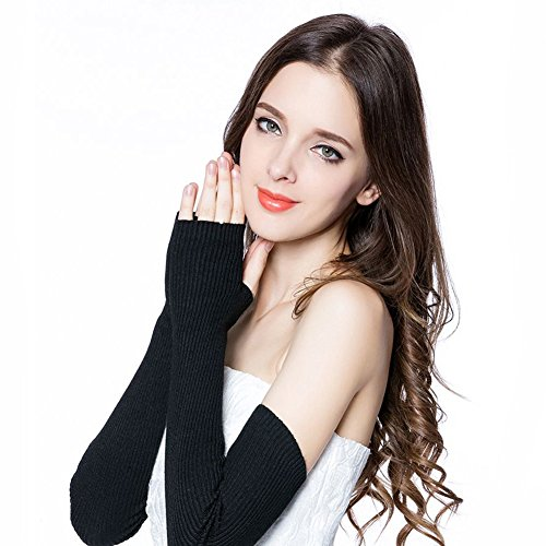 Huluwa Women's Arm Sleeves 100% Wool Cashmere Long Fingerless Gloves (19.6 inch, (Cashmere Long Glove)