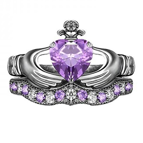 TVS-JEWELS Black Rhodium Plated 925 Silver Claddagh Ring Engagement Set Purple Amethyst & Whtie Stone (7.5)