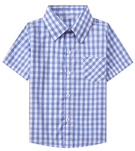 SANGTREE Boys Short Sleeves Plaid Shirt, Button Down Dress Shirt for Toddlers, Little & Big Boys,Light Blue, Tag 110 for Age 3-4 Years