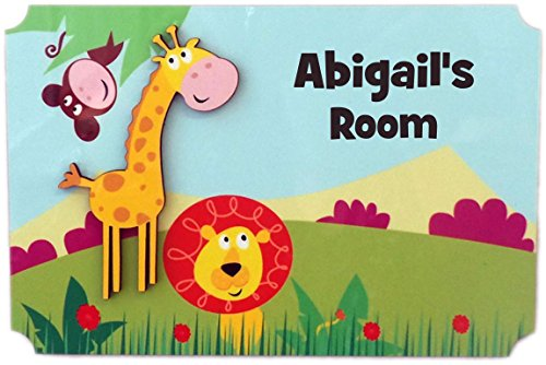 (Rikki Knight Abigail's Room - 3D Giraffe on Jungle - Door Sign Plaque with Name for Children and Baby's Bedroom)