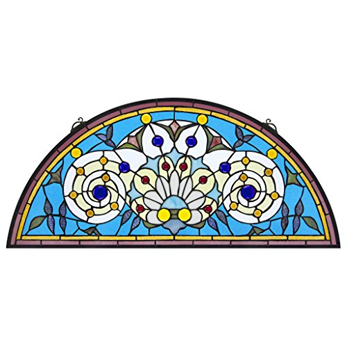 Stained Glass Panel - Callidora Demi-Lune Stained Glass Window Hangings - Window ()