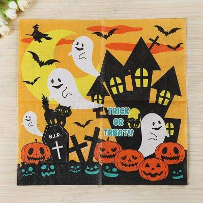 (Haga Colored Tissue Paper 20pcs/lot 2-Layer Halloween Decoration decoupage Paper Napkins 100% Virgin Wood Tissue for Birthday Party Decoration)