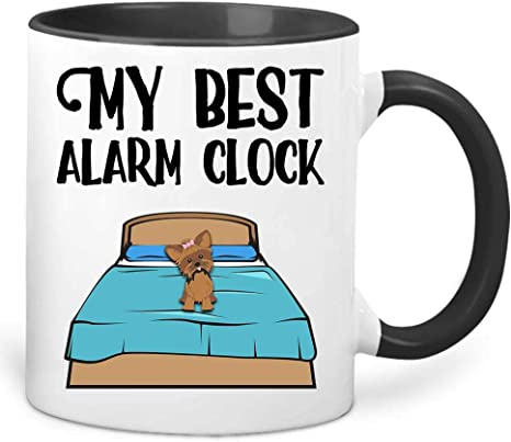 Amazon Com My Best Alarm Clock Funny Dog Lover Pet Owner Colored Coffee Mug White Outside Black Inside And Handle Ceramic 11 Oz Kitchen Dining