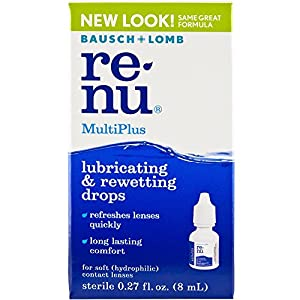 Bausch and Lomb ReNu MultiPlus Lubricating and Rewetting Drops for Soft Eye Contact Lenses 0.27 Ounces (8ml)