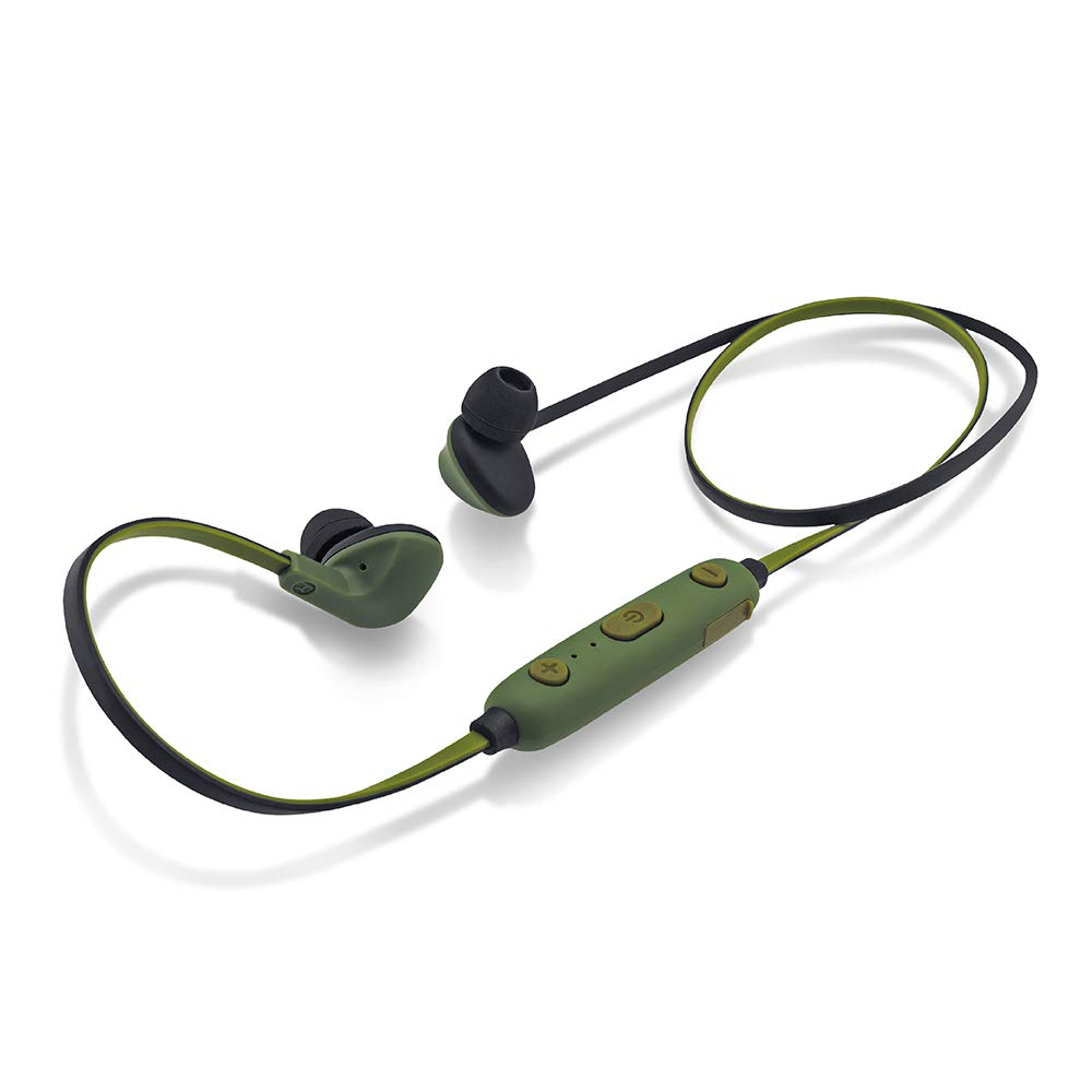 iBall EarWear Sporty Wireless Bluetooth Headset with Mic for All Smartphones  Military Green