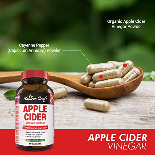 Apple Cider Vinegar Pills - For Weight Loss 1500 MG ACV Extra Strength Fat Burner Natural Supplement Pure Detox Cleanse Digestion Support - Appetite Suppressant Immune Booster - for Women and Men