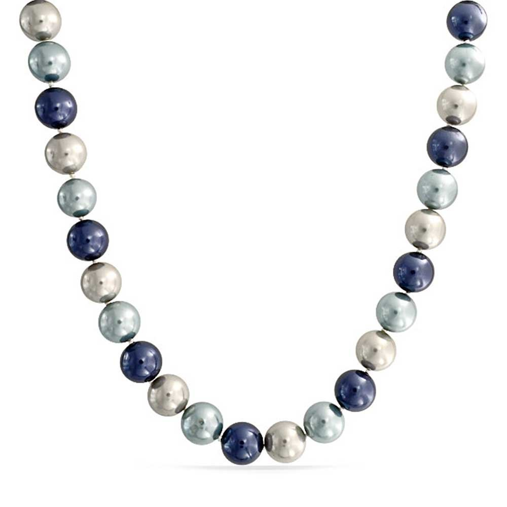 Bling Jewelry Round Blue Shell Pearl Statement Necklace CB-NK7824
