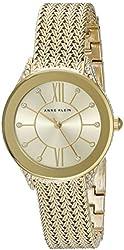 Anne Klein Women's AK/2208CHGB Swarovski Crystal Accented Gold-Tone Mesh Bracelet Watch