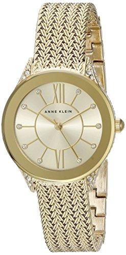 Anne Klein Women's AK/2208CHGB Swarovski Crystal Accented Gold-Tone Mesh Bracelet Watch ()