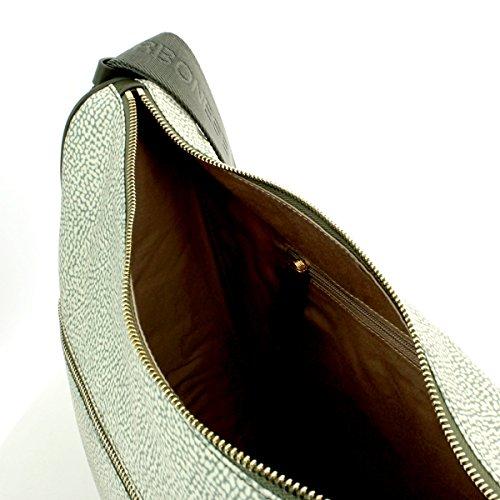 Borsa a tracolla Borbonese Luna Bag Medium in tessuto Jet verde militare