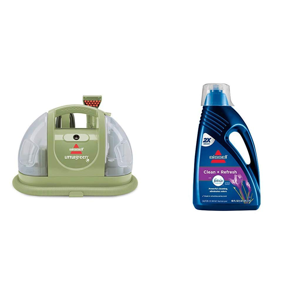 Bissell Multi-Purpose Portable Carpet and Upholstery Cleaner, 1400B &  DeepClean + Refresh with Febreze Freshness Spring & Renewal Formula, 1052A, 60 ounces by Bissell