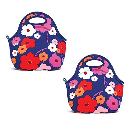 BUILT NY Gourmet Getaway Neoprene Lunch Tote, Lunch Lush Flower, Set of 2 Bags