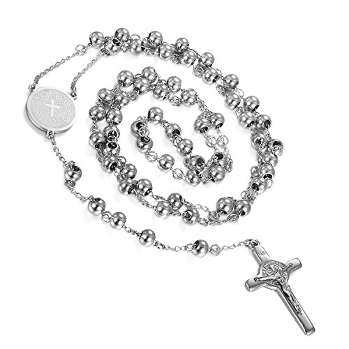 Flongo Men's Women's Vintage Stainless Steel Jesus Christ Crucifix Cross Rosary Silver Beads Pendant Necklace, 29 inch Chain (Solid Cross Rosary)