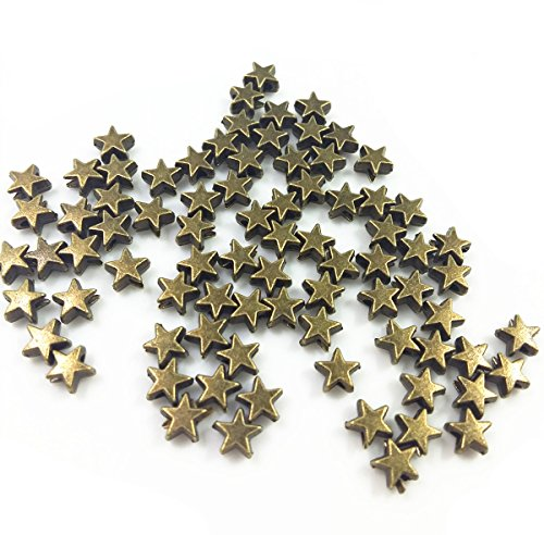 QTMY 100 PCS 2mm Hole Stars Spacer Beads for Jewelry Making Supplies in Bulk (Art Rectangle Charm Gold Plated)
