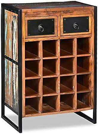 vidaXL Madera Maciza Botellero 16 Botellas Bodega Despensa Vinoteca Estantería