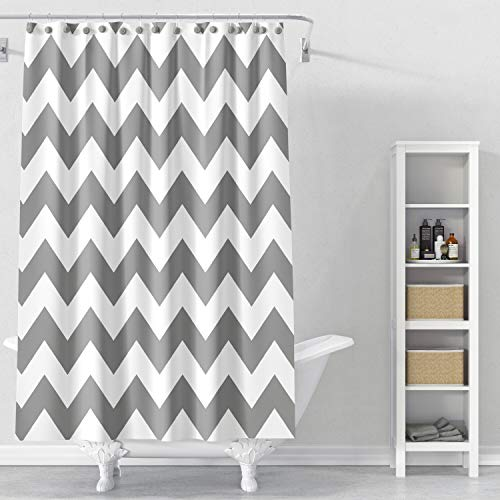 Cryseam Shower Curtain Mildew-Free Fabric Chevron For Bathroom 72''X72'' Inch Water-Repellent Polyester Grey Stripe