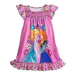 Frozen Elsa & Anna Little Girls' Nightshirt (Large)