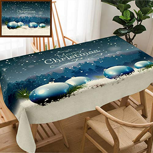 Skocici Unique Custom Design Cotton and Linen Blend Tablecloth Luxury Christmas Greeting Card with Blue Baubles in The SnowTablecovers for Rectangle Tables, 70