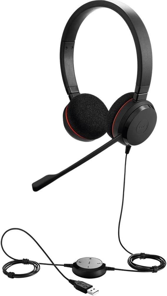 Amazon Com Jabra Evolve 20 Uc Stereo Wired Headset Music Headphones U S Retail Packaging Black