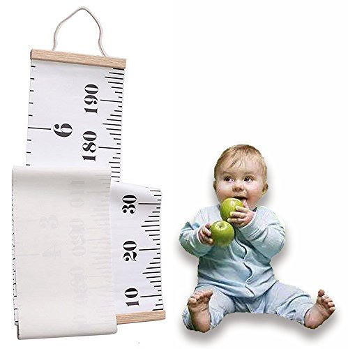 Hanging Growth Height Ruler, Roll-up Canvas Height Measurement Chart with Wood Frame for Infant Baby Kids Toddlers Adults Room Wall Decoration by ohDeb (Image #1)
